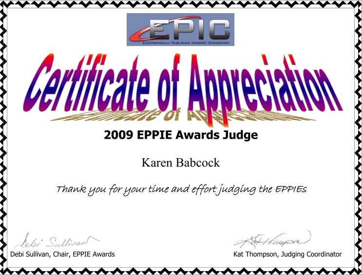 Testimonials certificate of appreciation for being an eppie judge in 2009 yadclub Choice Image
